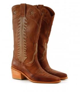 Botas altas texanas de cuero en suela