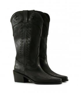 Botas altas texanas de cuero en negro