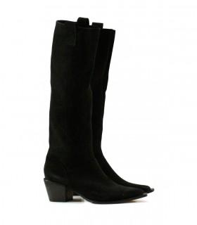 Botas altas texanas de gamuza negro