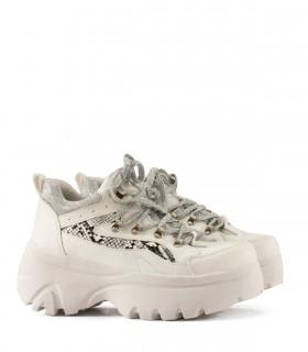 Zapatillas de símil cuero blanco