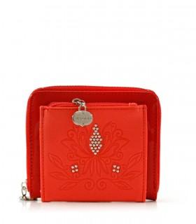 Billeteras de símil en charol rojo