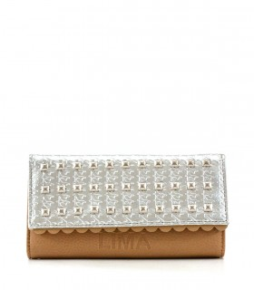 Billeteras de símil en beige-plata