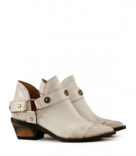 Botas texanas de cuero blanco