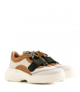 Zapatillas de cuero blanco combinado