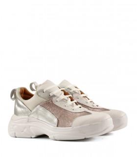 Zapatillas urbanas de cuero metalizado plata/natural