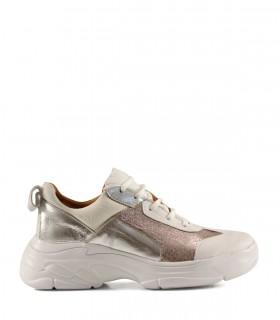 Zapatillas urbanas de cuero metalizado rosa/plata/natural