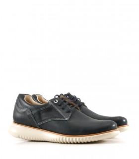 Zapatos acordonados de cuero en azul