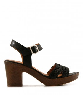 Sandalias trenzadas de cuero negro