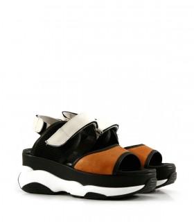 Sandalias de cuero en suela/negro