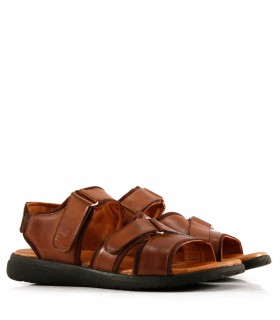 Sandalias de cuero en caoba