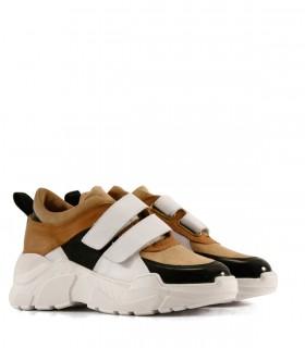 Zapatillas urbanas de cuero en suela-negro-blanco