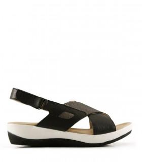 Sandalias de cuero en negro y plata