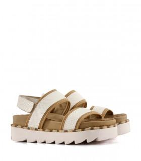 Sandalias en reptil blanco