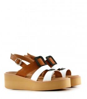 Sandalias de cuero en blanco-suela
