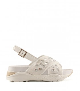 Sandalias de tela en blanco