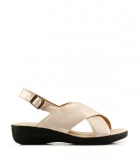 Sandalias de cuero metalizado en oro