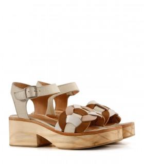 Sandalias de cuero en suela/natural