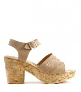 Sandalias de gamuza en tan