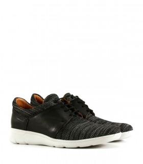 Zapatillas urbanas de cuero-tela en gris