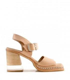 Sandalias de cuero en nude