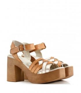 Sandalias de cuero en suela/platino