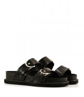 Sandalias de reptil en negro