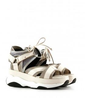 Sandalias de cuero en blanco y gris