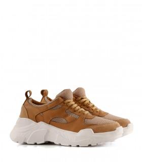 Zapatillas urbanas de cuero y tela en suela