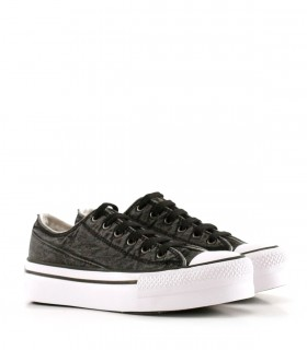 Zapatillas urbanas de tela en negro gastado