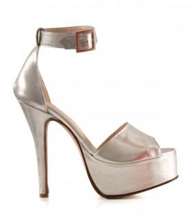 Sandalias de fiesta en cuero plata