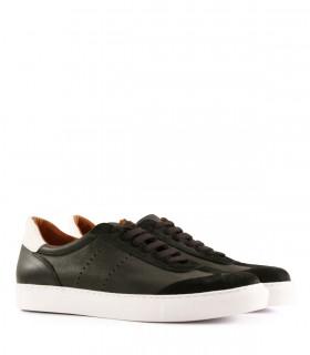 Zapatillas urbanas de cuero y gamuza en negro