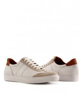 Zapatillas urbanas de cuero y gamuza en blanco