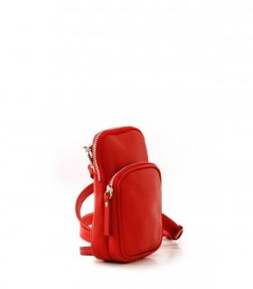 Mini bandolera de cuero en rojo