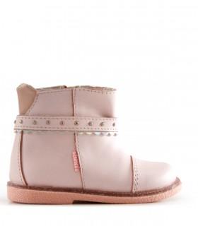 Botas cortas de cuero en rosa
