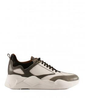 Zapatillas urbanas de cuero en gris combinadas