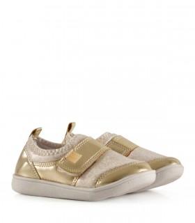 Zapatillas urbanas de tela en oro