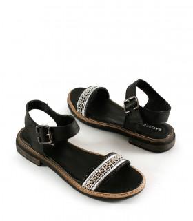 Sandalias chatas de cuero negro con tira con tachas