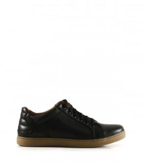 Zapatillas de cuero picado negro con base de goma suela