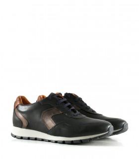 Zapatillas urbanas en cuero azul con detalles en marrón