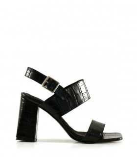 Sandalias de cuero croco en negro