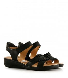 Sandalias confort de cuero negro con velcro