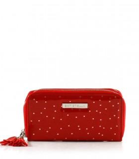 Billeteras de símil caladas en rojo