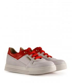 Zapatillas de símil en blanco y rojo