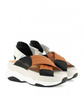 Sandalias de cuero negro/suela con velcro