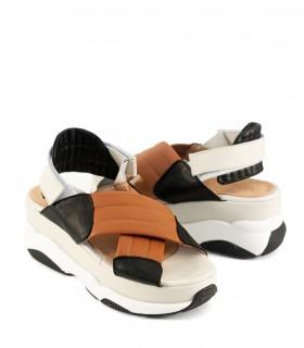 Sandalias de cuero suela/negro con velcro