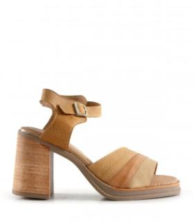 Sandalias altas de cuero en suela