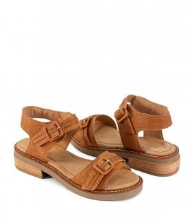 Sandalias bajas de cuero en cuoio
