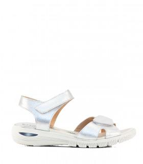 Sandalias confort con velcro y cámara de aire en plata