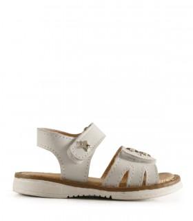 Sandalias de cuero blanco con apliques