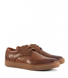 Confort acordonado de cuero marrón